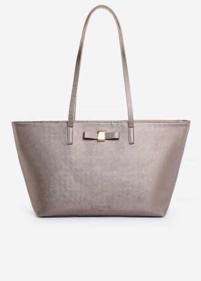Shopping bag Blady in ecopelle effetto saffiano con dettaglio fiocco