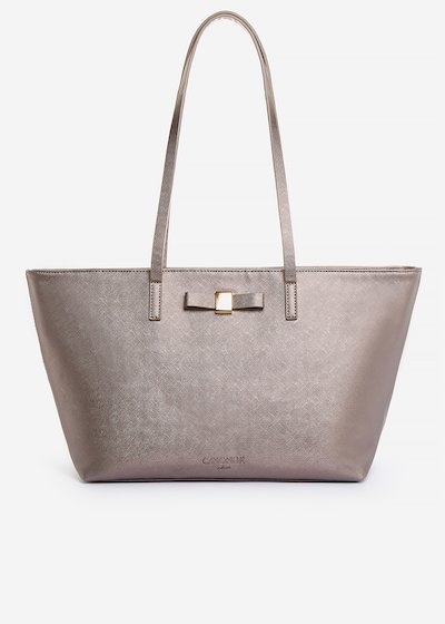 Blady shopping bag of faux leather saffiano effect with bow detail