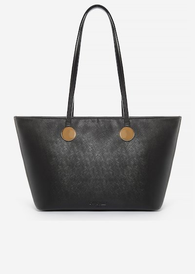 Brisha shopping bag of faux leather saffiano effect with metal ring detail