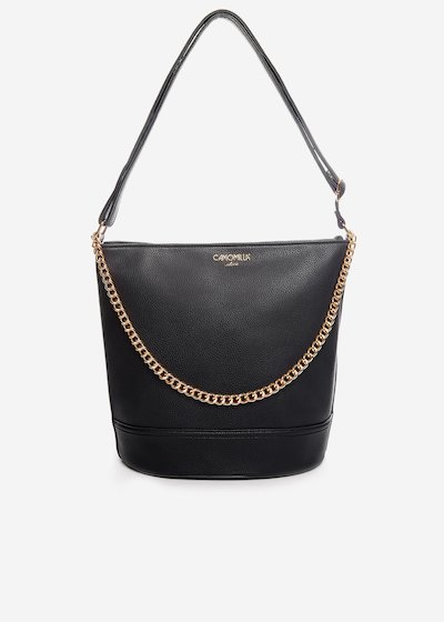 Brigida faux leather handbag with gold chain detail.