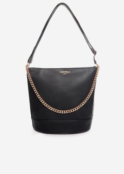 Brigida faux leather handbag with gold chain detail.