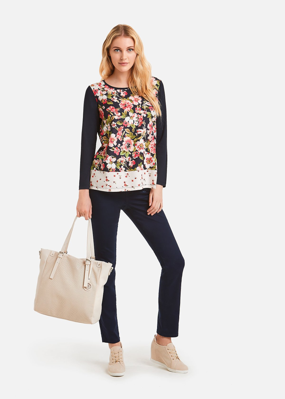 Samy t-shirt floral pattern - Medium Blue \ Fuxia\ Fantasia