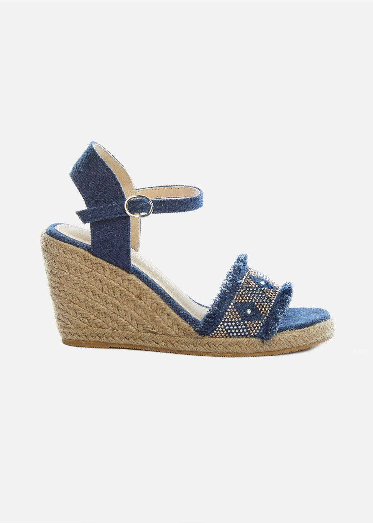 Sandali Sashar con zeppa in paglia dettagli crystal - Medium Denim