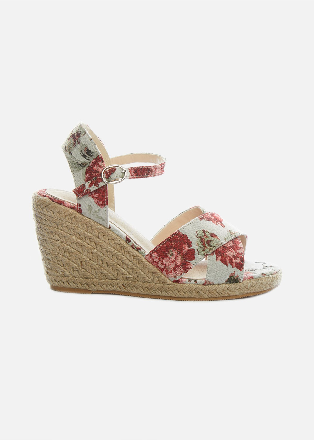 Straw wedge and floral design Simoa sandals