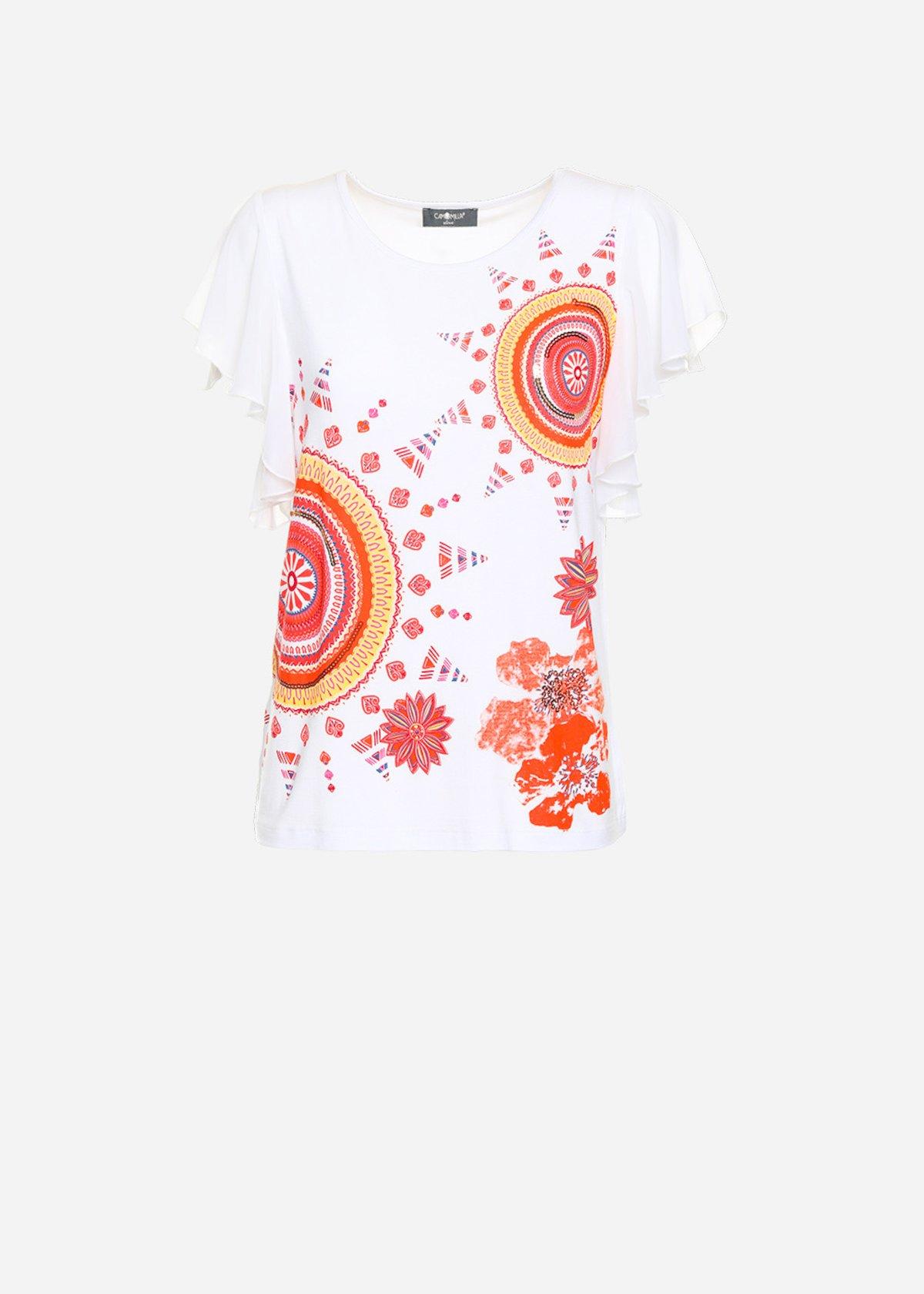 T-shirt Seby con stampa a fantasia e volant di georgette alle maniche
