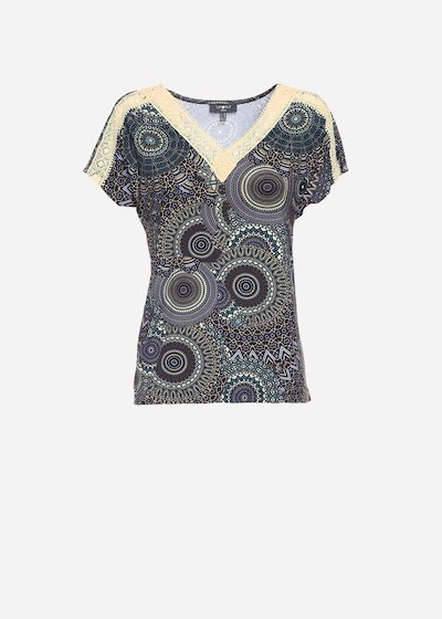 Seraph t-shirt with geometric print and lace details