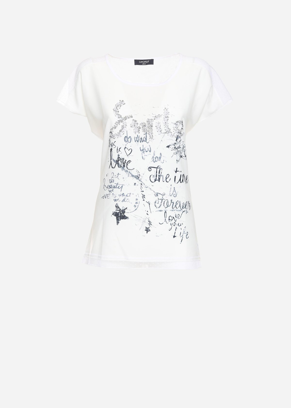 Sonja t-shirt with lace and rhinestone inserts