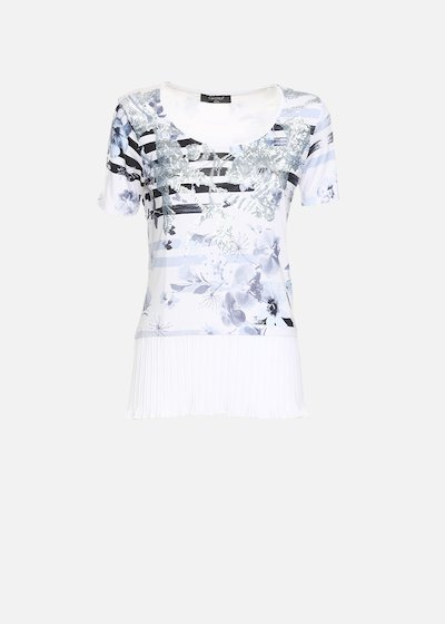 T-shirt Shakyra con plissè di georgette - White / Medium Blue Fantasia