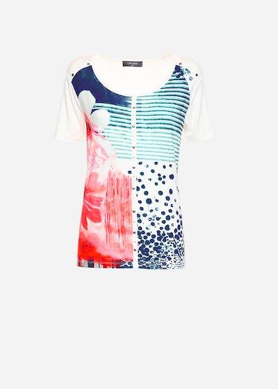 T-shirt Seville con scollo tondo - White / Medium Blue Fantasia