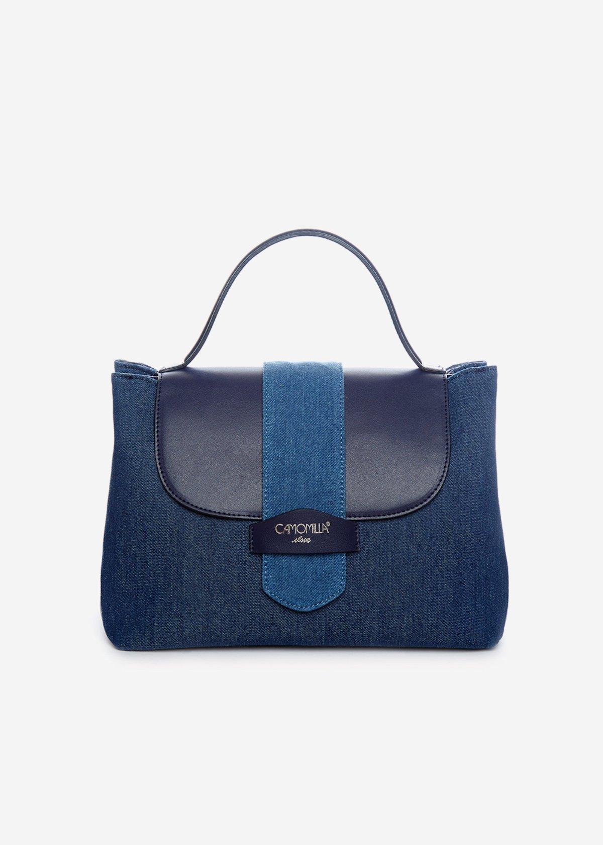 Handbag Binnys in ecopelle con tracolla removibile - Dark Denim