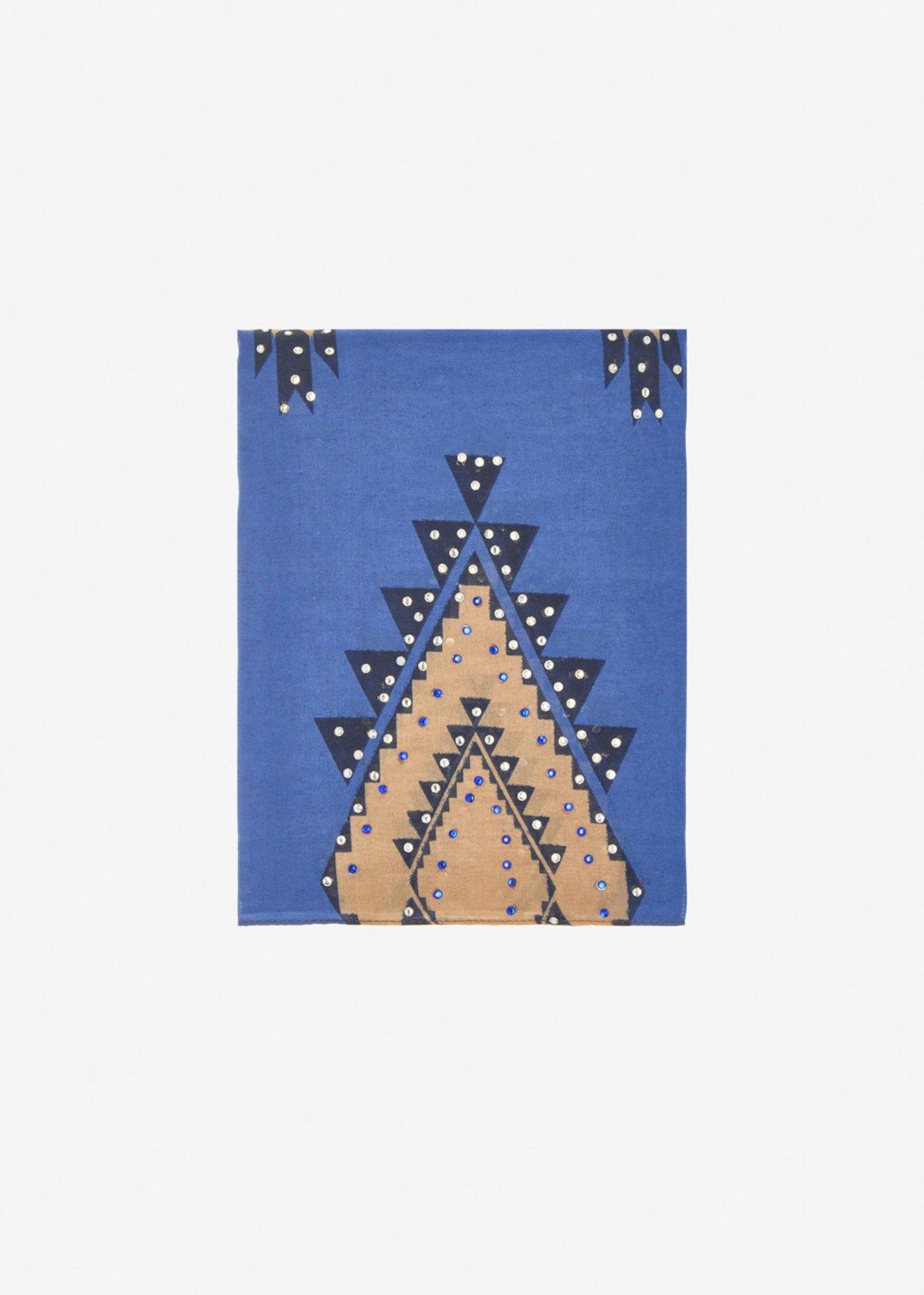 Syria scarf geometric pattern with rhinestones - Avion Fantasia