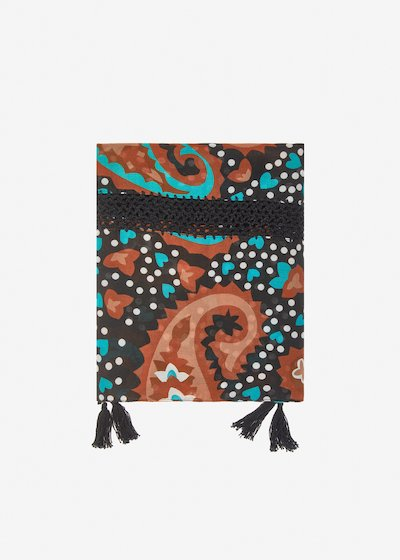 Somalia scarf with crochet embroidery and tassel detail - Black Fantasia