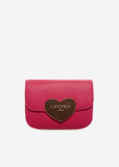 Faux leather Beax clutch with metal heart detail