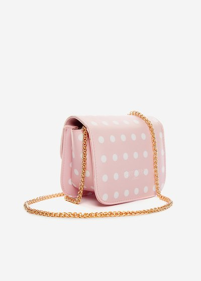 Saffiano faux leather Beak polka dots printed clutch