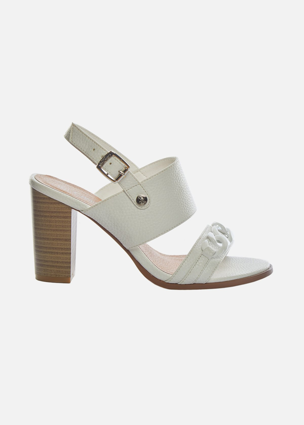Faux-leather Saxa Sandals with chain detail - White