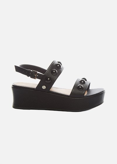 Faux leather Samion sandals with wedge and boules details