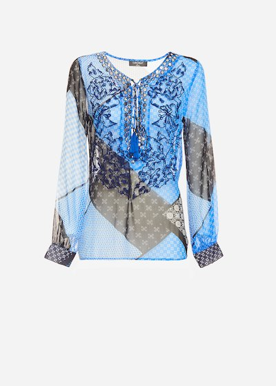Camel blouse with mirror applications