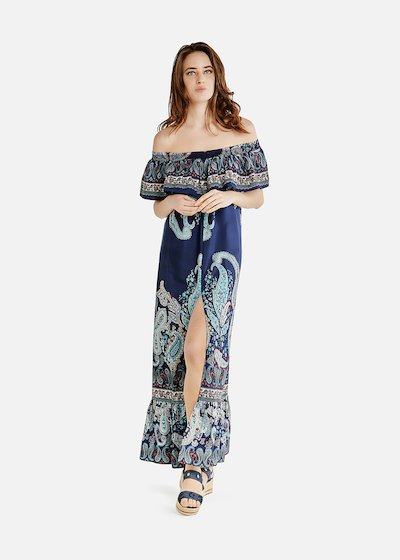 Long paisley-patterned Aryal dress with schiffer neckline