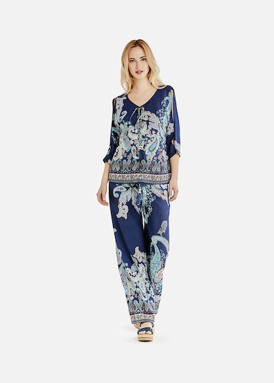 Pixy trousers with wide leg - Medium Blue / Turquoise Fantasia