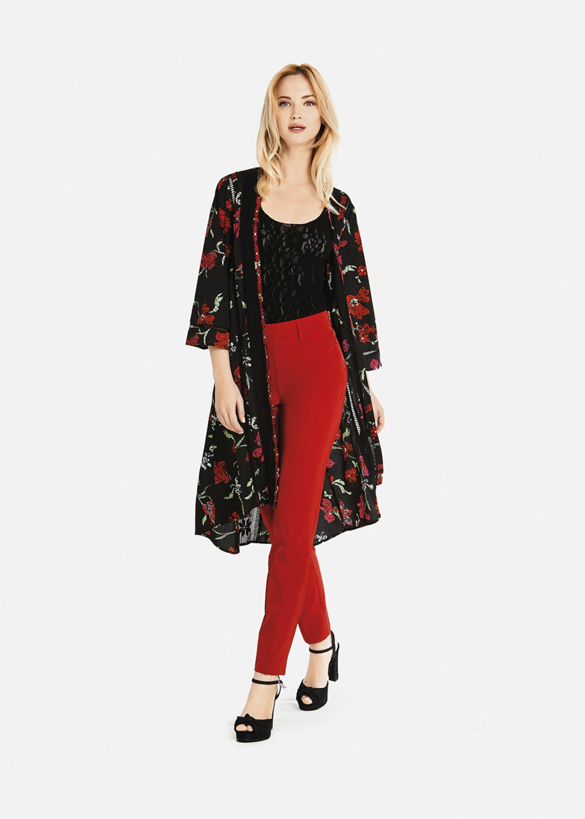 Colby longfloral pattern  cardigan - Black / Rouge Fantasia