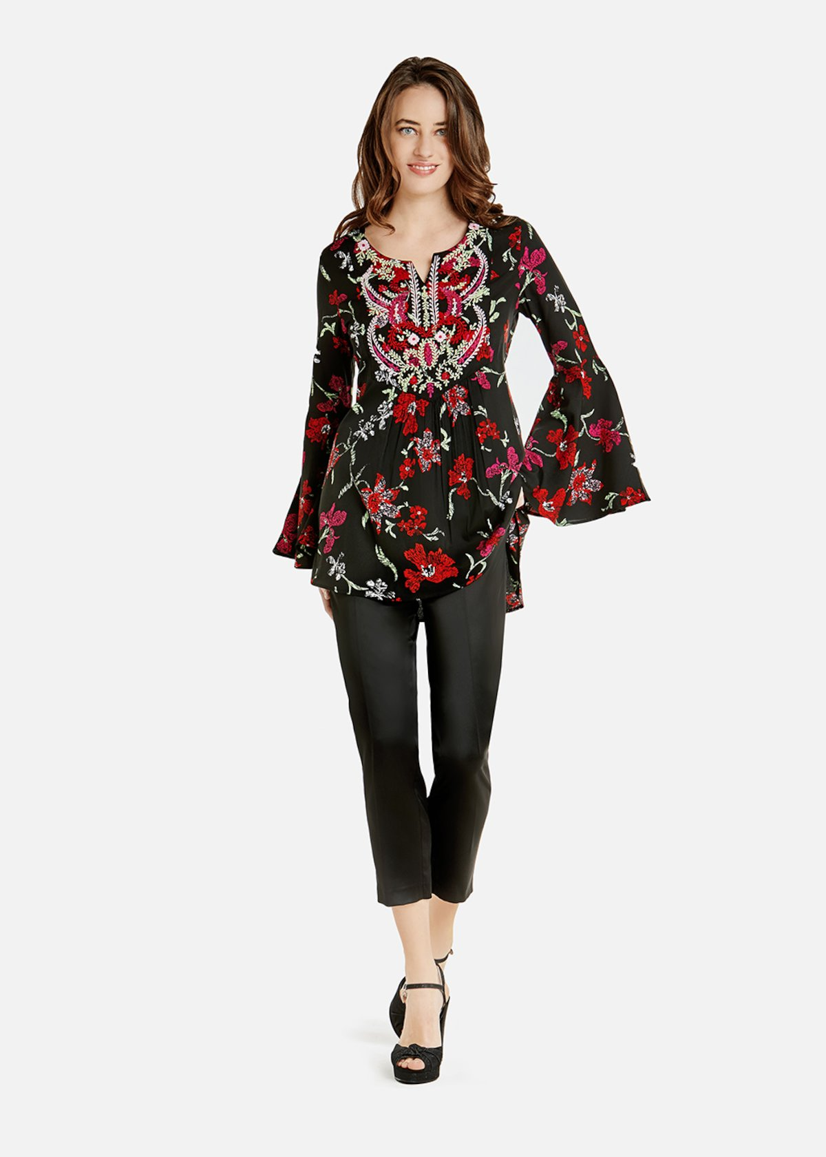 Cressie blouse with thread embroidery in tone on the neckline - Black / Rouge Fantasia