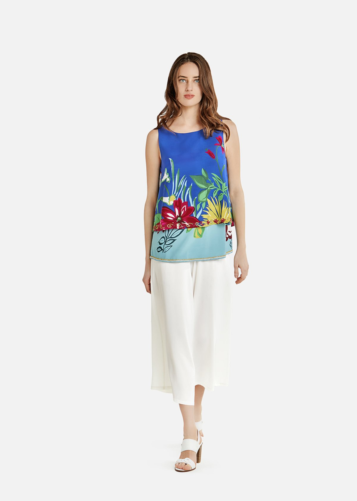 Floral Toffy top with beads on the bottom - Formentera / Fuxia Fantasia