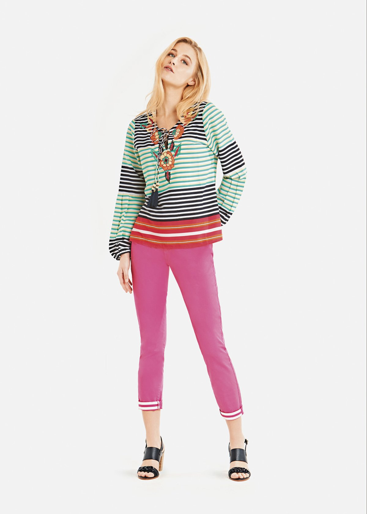 Katty blouse with multicolor stripes and bow detail