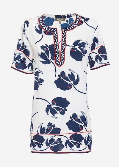 Camiseta blouse with lace inserts - White / Medium Blue Fantasia