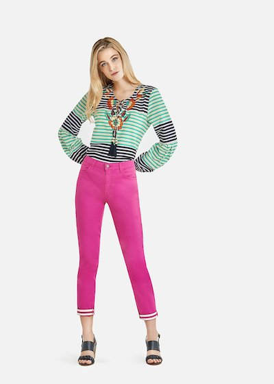Primo equestrian style trousers with striped print cuffs