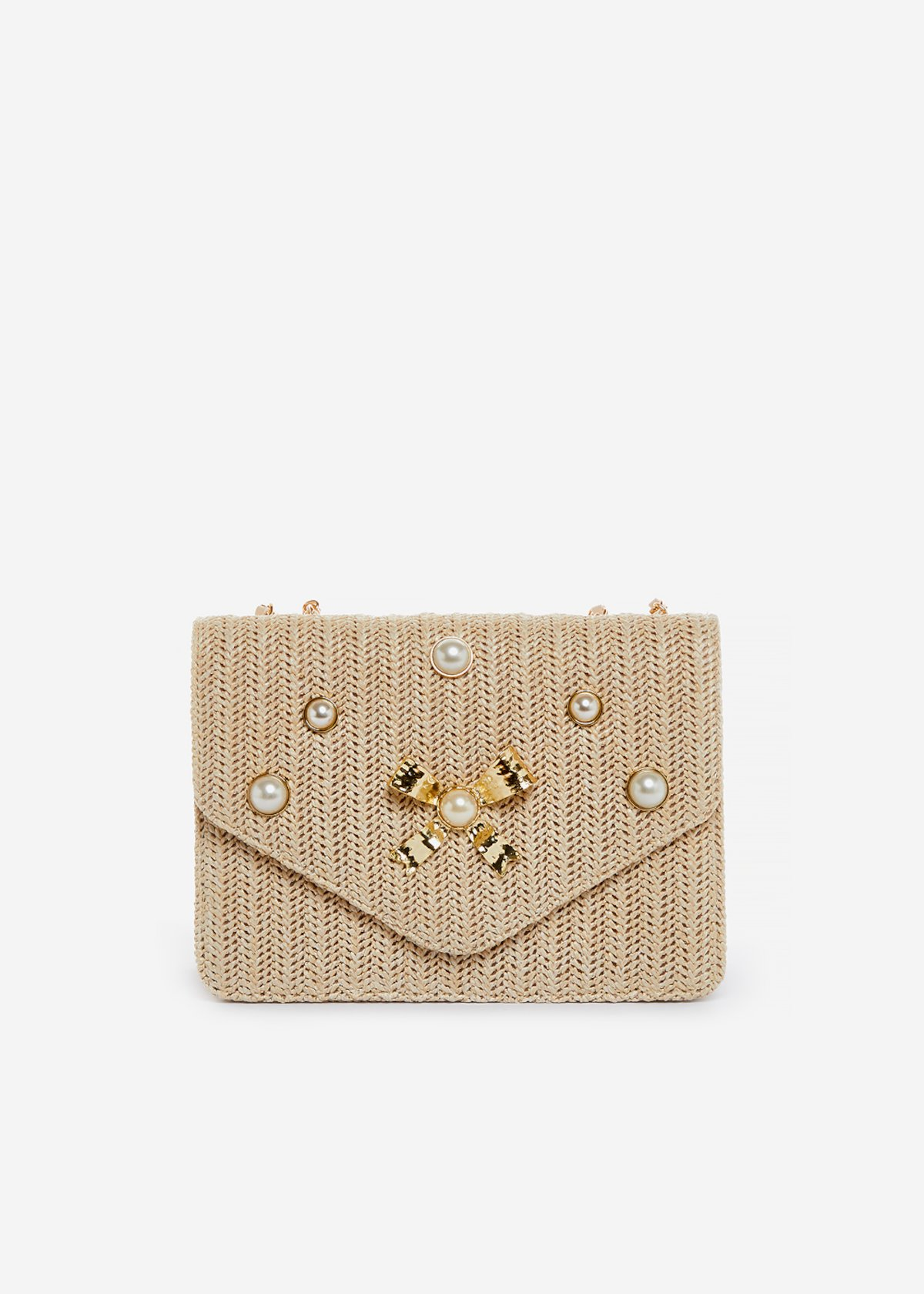 Brigida clutch with metal bow and pearls - Light Beige