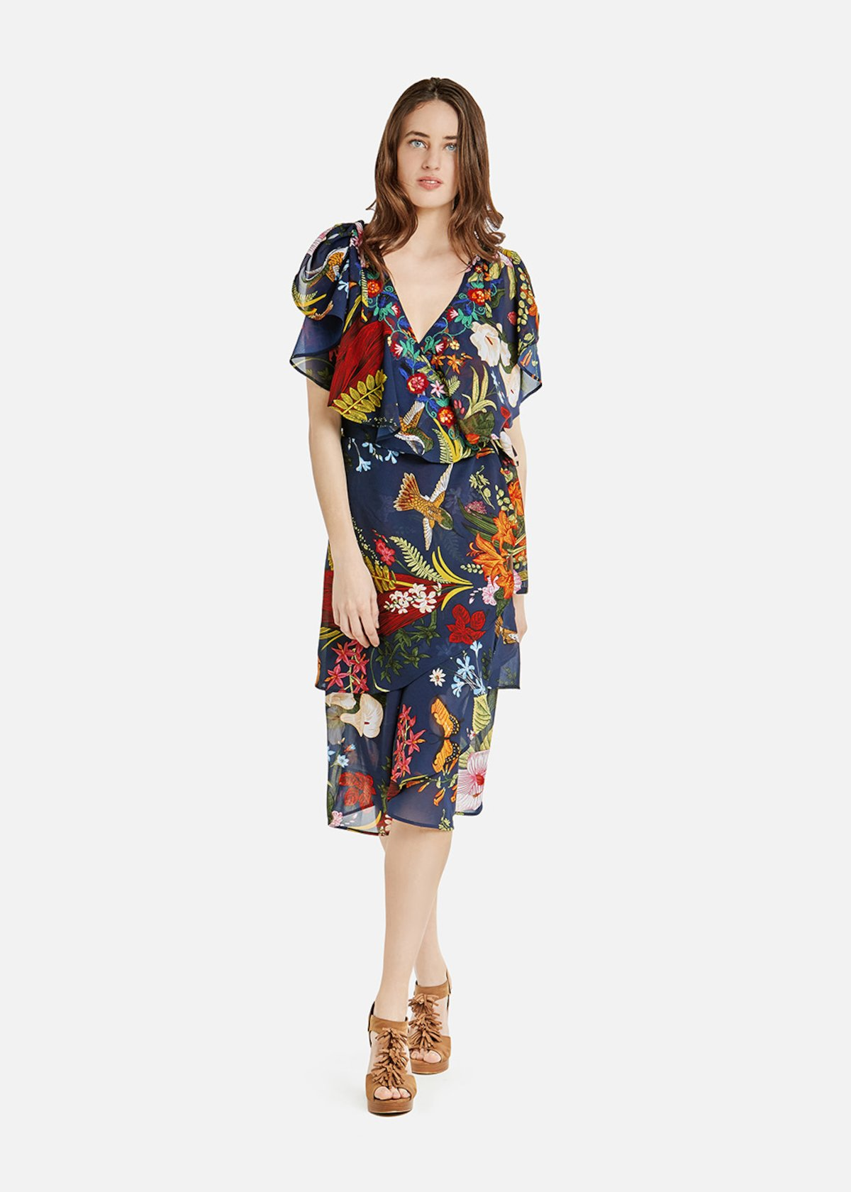 Andres dress with short sleeves and front flounces - Medium Blue / Rouge Fantasia