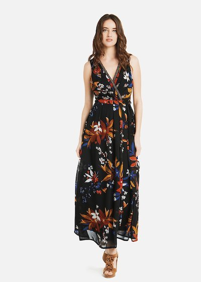Avril long dress with belt and embroidery