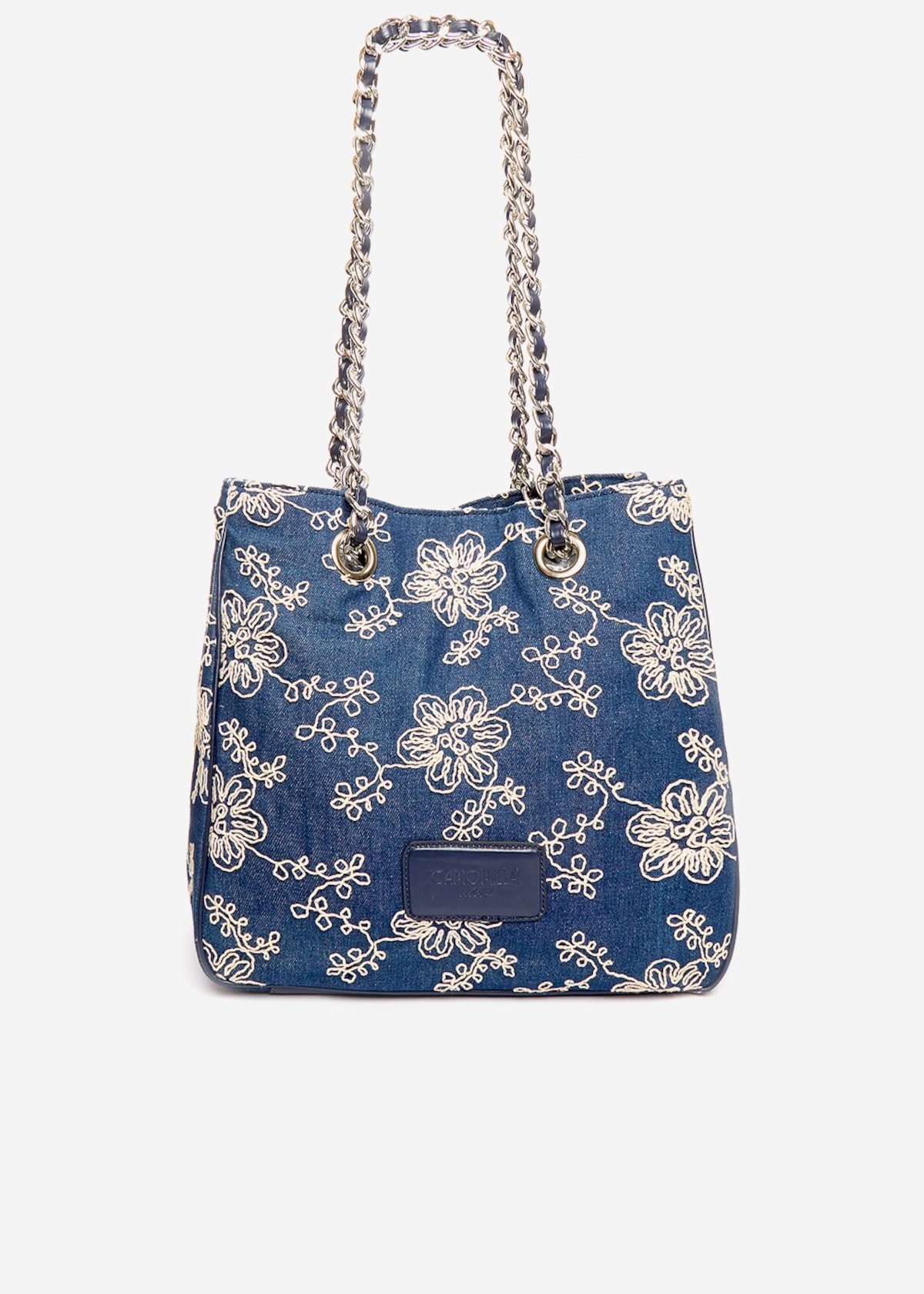 Shopping bag Belta with floral embroidery - Dark Denim