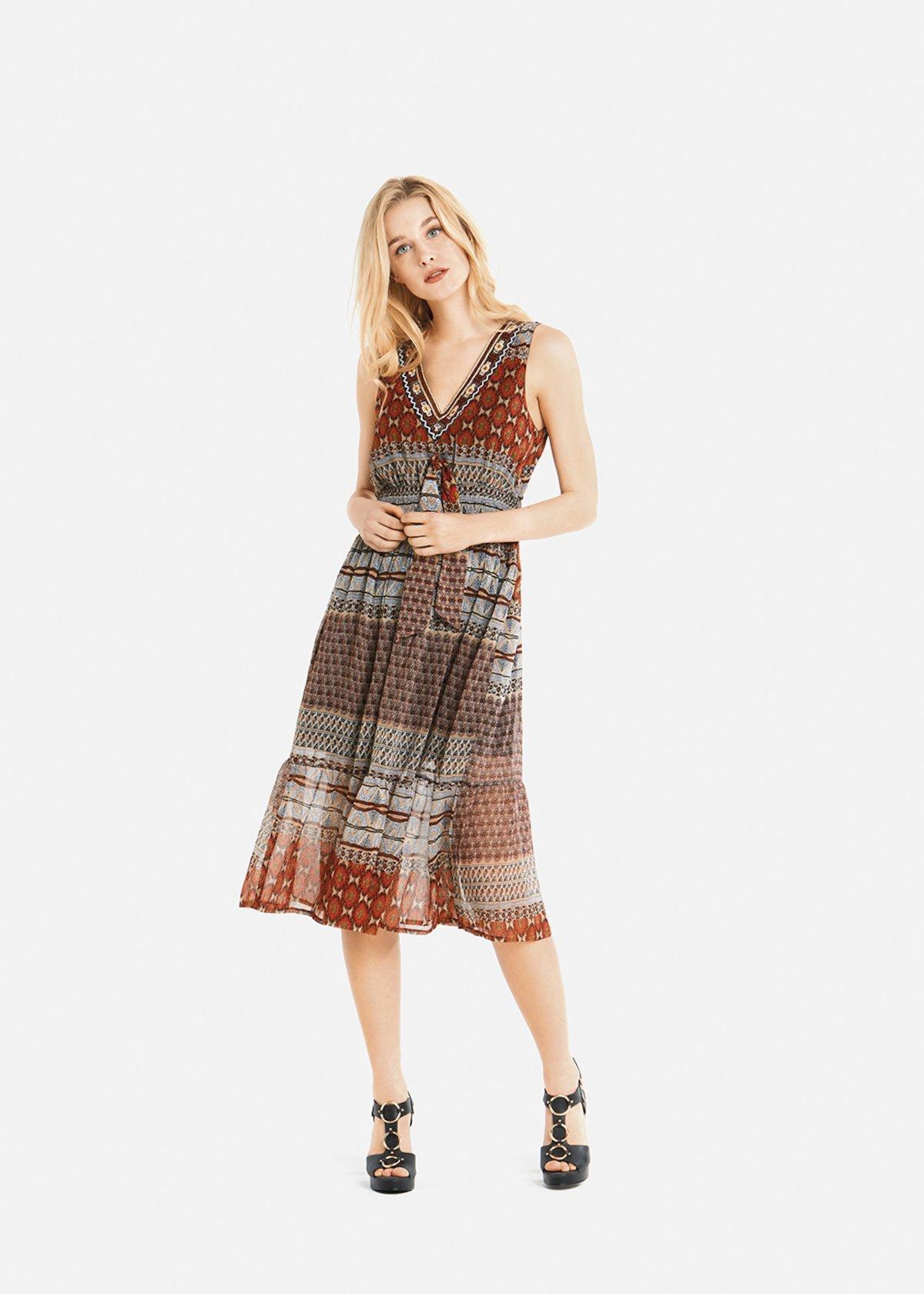 Alain long dress with ethnic pattern - Argilla   Light Beige Fantasia e751e2265f9