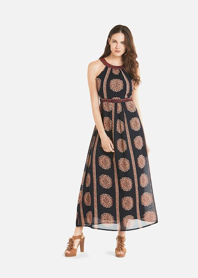 Axios long dress with embroidered ethnic rosettes