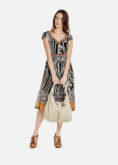 Agos long dress with zebra pattern