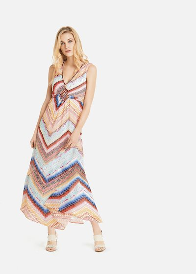 Aleck long dress with rhombus embroidered at the waist
