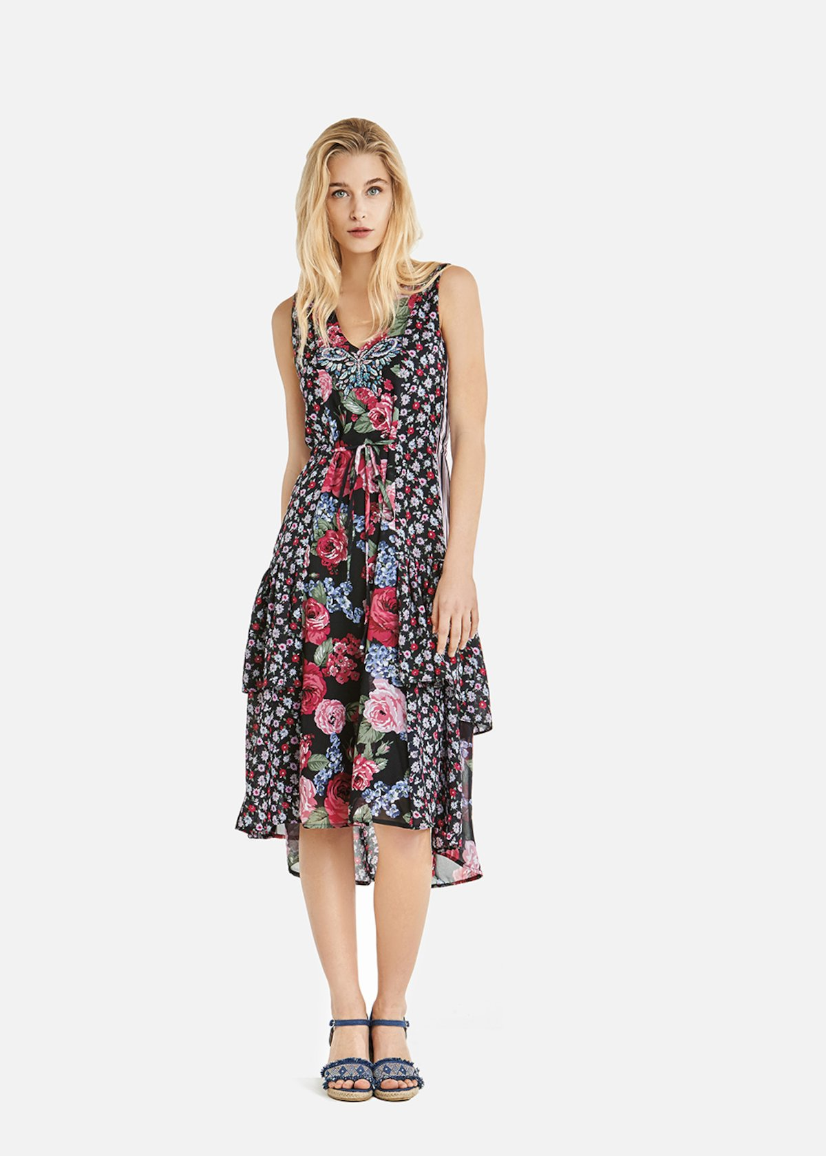 Aurelien dress with double floral print