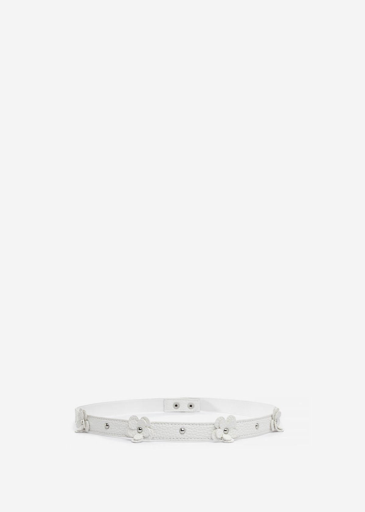 Faux-leather belt Clea with floral applications - Bianco