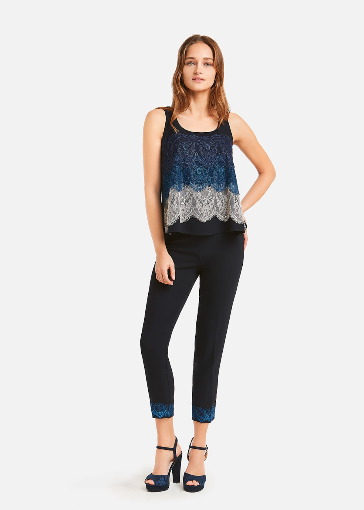 Top Theo with triple lace flounce - Medium Blue\ Formentera\ Pink