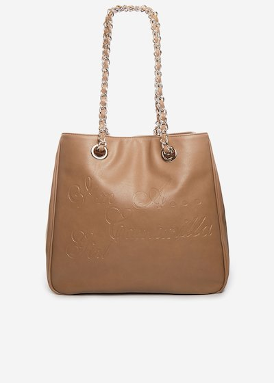 Minicamo girl faux leather shopping bag with chain handles - Cinder