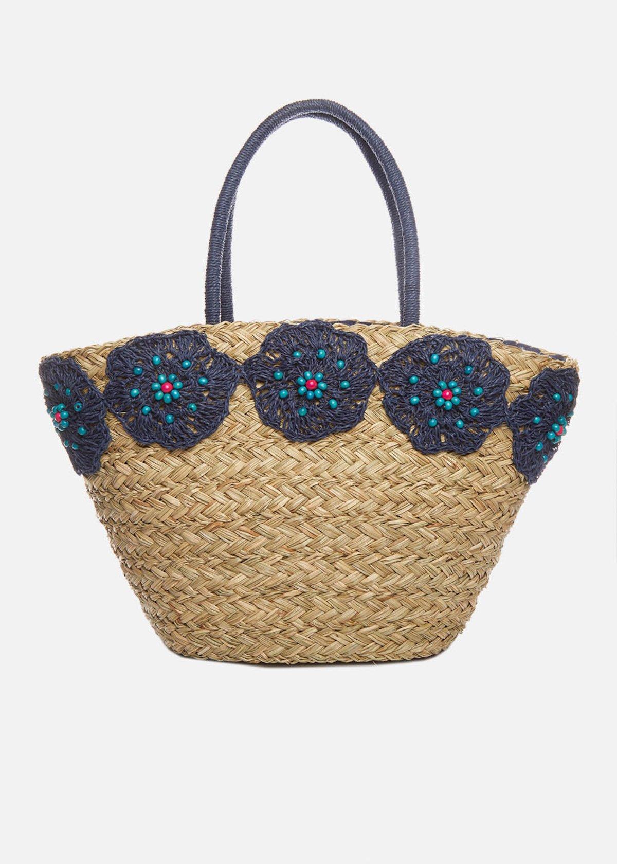 Cesta in paglia Miriam con dettaglio ricamo fiori - Medium Blue / Emerald