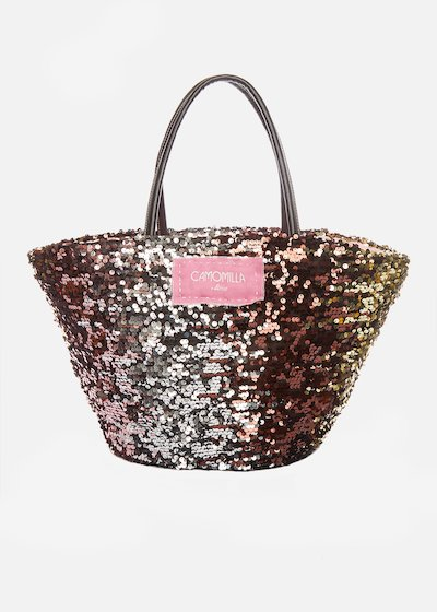 Marzia straw basket with multicolour sequins