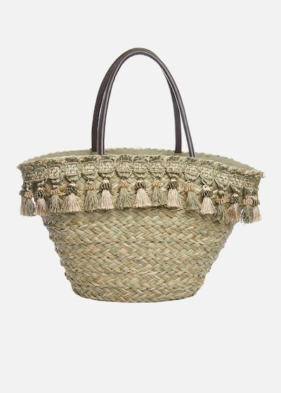 Maira straw basket with tassels detail
