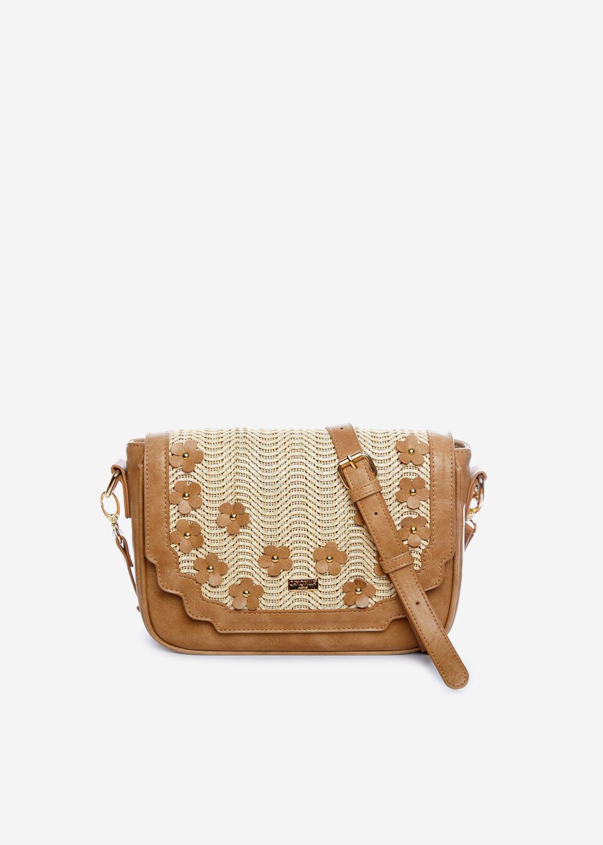 Handbag Belemir con fiori applicati - Desert