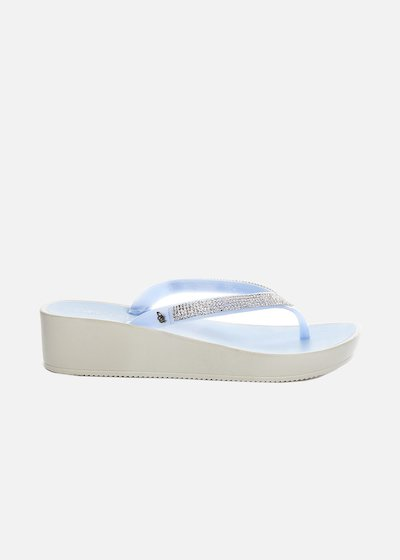 Calenda Flip flops with wedge and rhinestones on the string