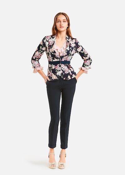 Gianna jacket with rose pattern printing. - Medium Blue / Magnolia Fantasia