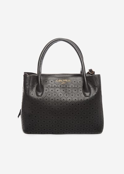Borsa Bruni in ecopelle traforata - Black