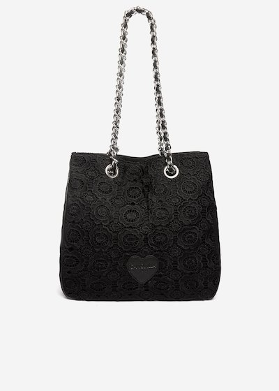 Brauni Shopping bag with lace embroidery and chain handles