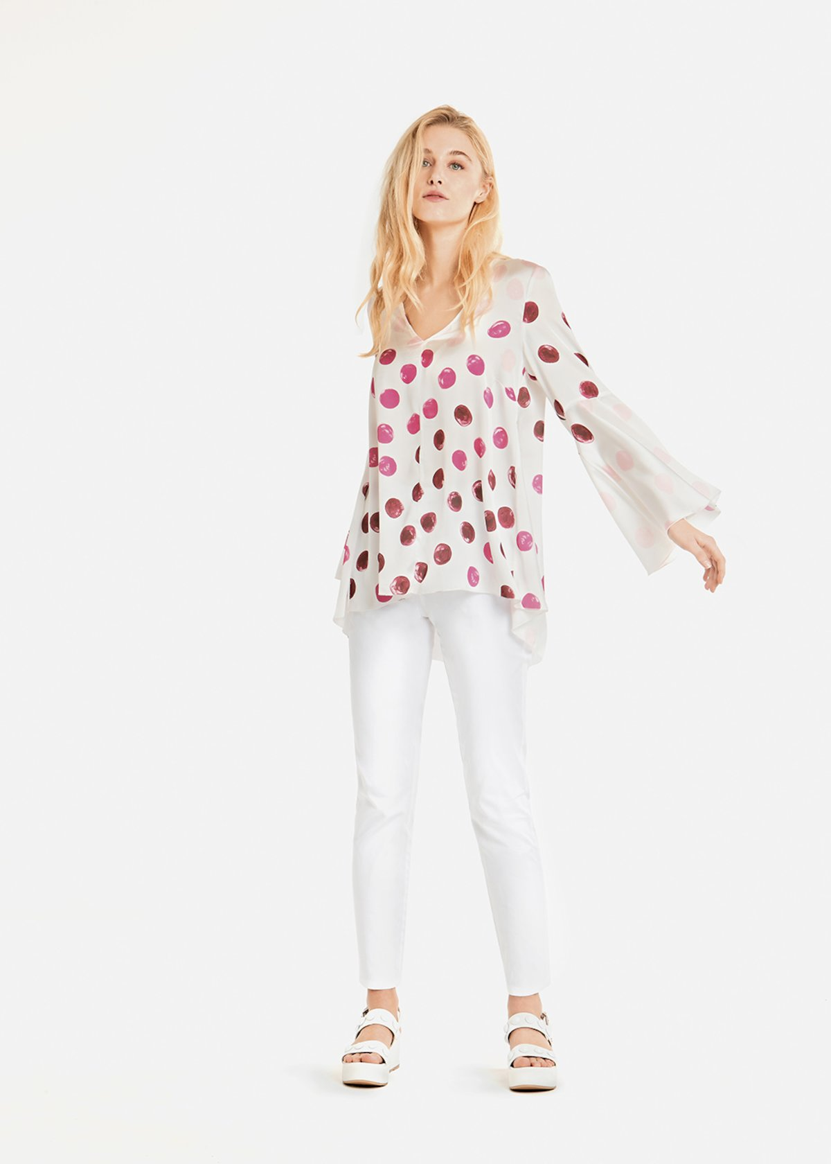 Sandra polka dot t-shirt with bell sleeves - White / Petunia Pois